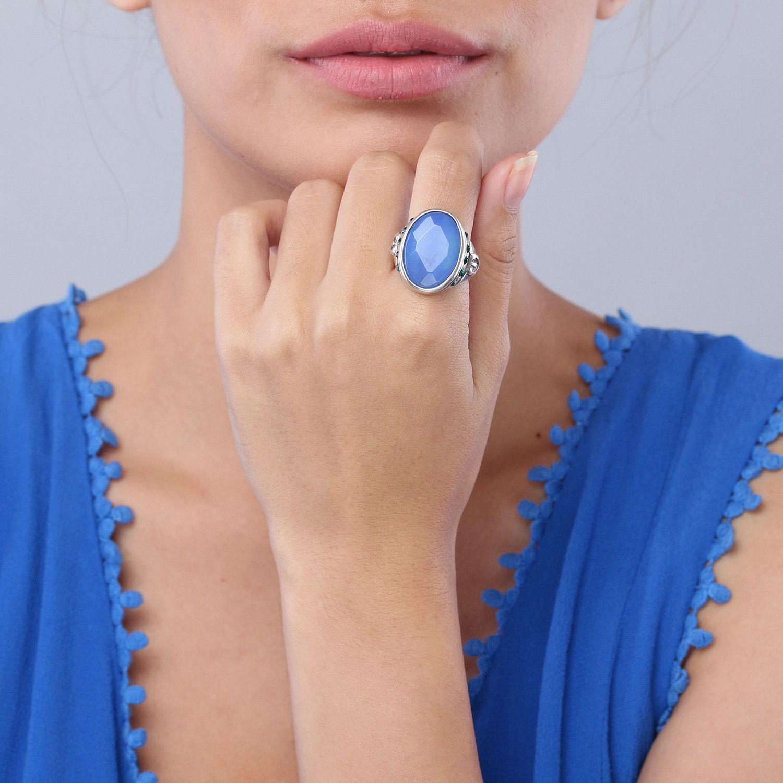PAOLA bague agate bleu