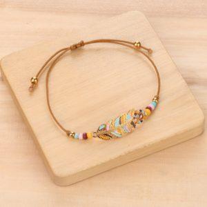 MIA bracelet macramé plume XS