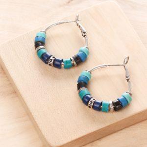 SHARON BO petites créoles (bleu)