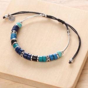 SHARON bracelet macramé (bleu)