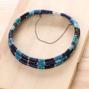 SHARON collier 3 rangs (bleu)