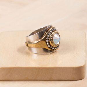 BEA bague strass blanc opal