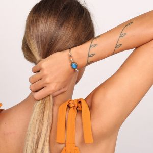 CASSY bracelet rigide cabochon bleu