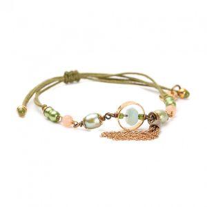 PENELOPE bracelet macramé avec pompon