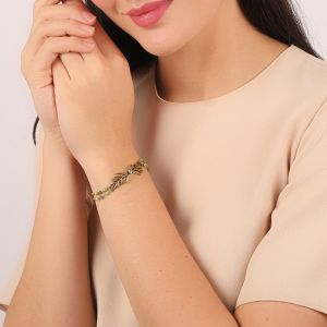 LEELOU bracelet double feuille