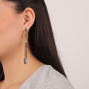FLO boucles d'oreilles pompon chaines (fushia)