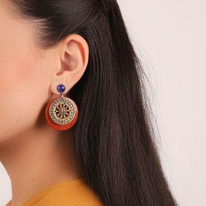 LIVIA boucles d'oreilles Lapis & bois