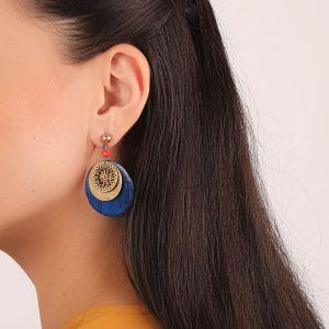 LIVIA boucles d'oreilles disque bleu