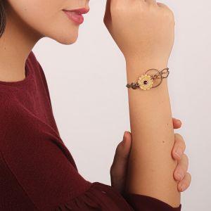 KORALIE bracelet fin disque bois