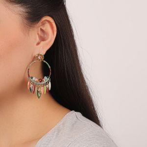 FLO boucles d'oreilles gitanes pampilles (vert)