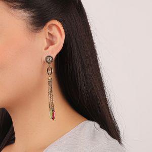 FLO boucles d'oreilles pompon chaines (vert)