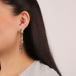 FLO boucles d'oreilles 2 rangs (vert)