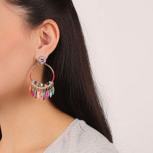 FLO boucles d'oreilles gitanes pampilles (fushia)