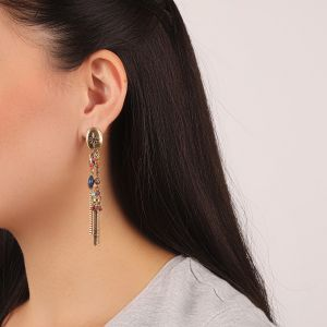 FLO boucles d'oreilles 2 rangs (fushia)
