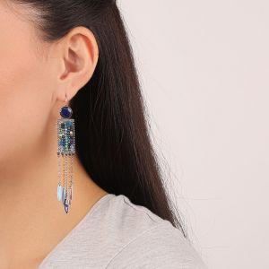 FLO dormeuses perles tissées (bleu)
