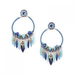 FLO boucles d'oreilles gitanes pampilles (bleu)