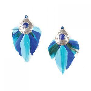 FLO boucles d'oreilles plumes (bleu)