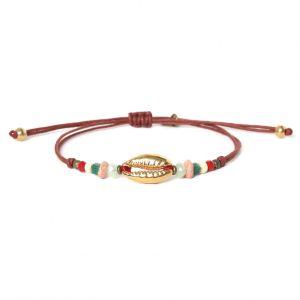 ELSA bracelet macramé et caurie doré à l'or fin
