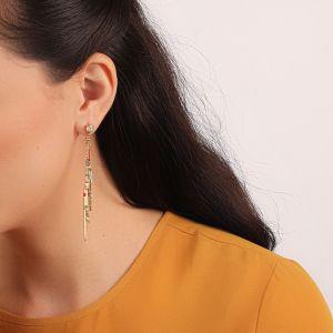EMMA boucles d'oreilles strass & 3 pampilles