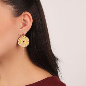 KORALIE boucles d'oreilles disque & chaines