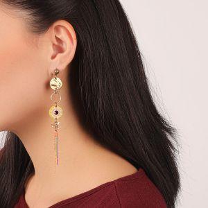 KORALIE longues boucles d'oreilles pompon chaines