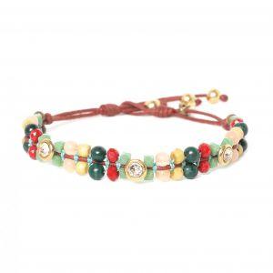 COMPLICES-ELSA bracelet perles & strass fermoir bouton