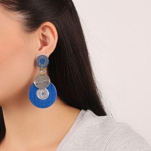 FLO boucles d'oreilles rondes (bleu)
