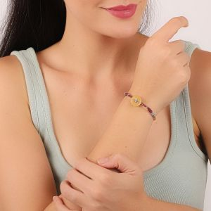 LAUREN bracelet bouton Nacre