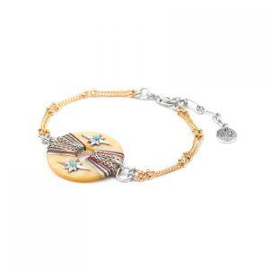 LAUREN bracelet anneau Nacre & chaines