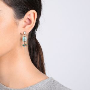 LES INSEPARABLES boucle howlite serti « turquoise »