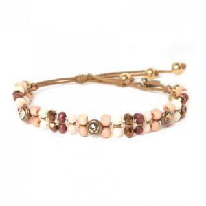 COMPLICES-NINA bracelet macramé strass & perles tissées