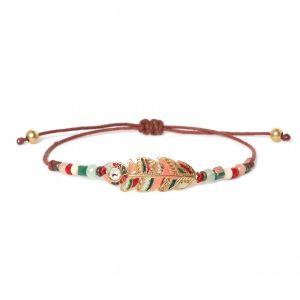 COMPLICES-ELSA bracelet macramé plume émaillée