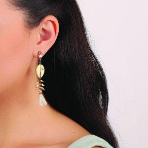 CAMILLE boucles d'oreilles strass, caurie & pompon