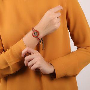 LIVIA bracelet disque bois & fermoir tube
