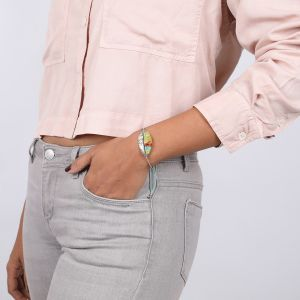 LEXIE bracelet articulé plume tissée