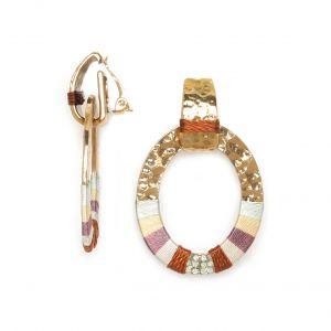 DEBORAH  boucles clips anneau tissé