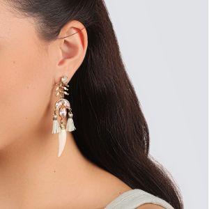CAMILLE boucles d'oreilles pompon & grigri