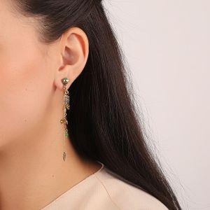 LEELOU boucles d'oreilles 3 chaines & strass