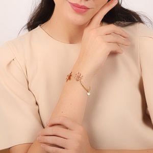 LISE bracelet rigide double feuille