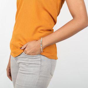 NAHIA bracelet extensible caurie argenté