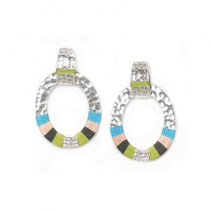 CLOE  boucles poussoir ovales anneaux tissés