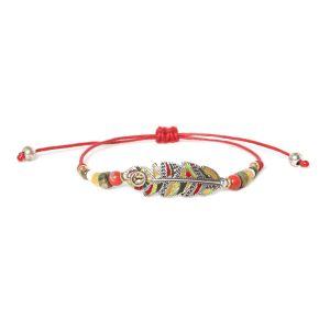 COMPLICES-JANNA bracelet macramé plume rouge