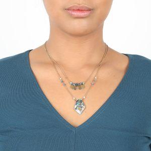 ELISA double necklace w/paua pendant