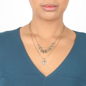 ELISA double necklace w/triangular pdt