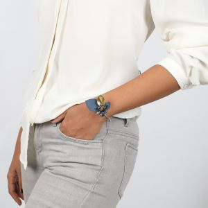 ALICE bracelet jonc cuir et perles de culture