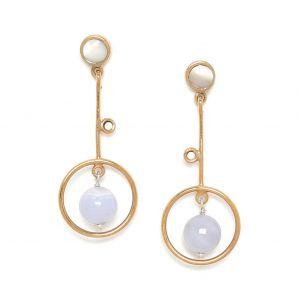 KIM boucles poussoir anneau & perle calcédoine