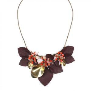 FLORINE Collar gran modelo 6 hojas cuero