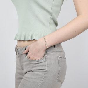 COMPLICES-HEISHI bracelet gris fermoir bouton nacre