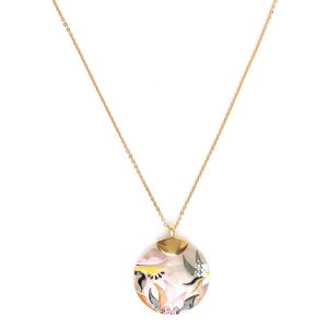 LAURETTE enameled disc necklace
