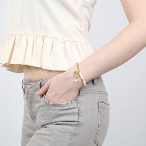 CONSTANCE bracelet coquillage & chaîne fermoir mousqueton